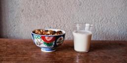 Saruya Hostel breakfast made of granola and soy milk