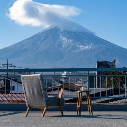 Shelter Stay by Saruya Hostel - Lounge Chair on rooftop by Mt Fuji