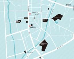 Map of Nishiura neighborhood in Fujiyoshida